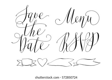 Wedding Set with calligraphy. Save the date. Menu. RSVP.