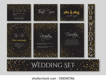 Wedding set cards with the abstract golden confetti backgrounds.