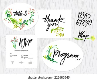 Wedding set of cards, menu, map envelope, invitation templates. Floral pattern. Calligraphic inscriptions