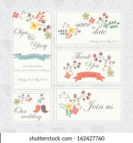 Wedding set with cute birds, hearts, ribbons and flowers in cartoon style