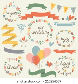 Wedding set with cute floral wreaths, ribbons, hearts and balloons in cartoon style
