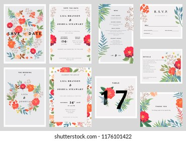 Wedding set with floral background. Colorful invitation, cards, menu for designs. Vector wreath.