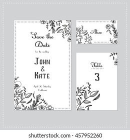 Wedding set with floral design, invitation, sitting card, number for the table