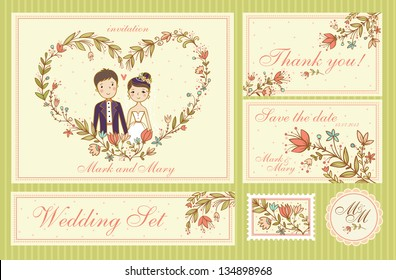 Wedding Set. Set of wedding invitation cards, thank you card, save the date cards.
