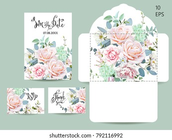 Wedding set with invitations and an envelope