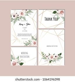 Wedding set with invitations. Vector set of vintage floral wedding invitation templates.