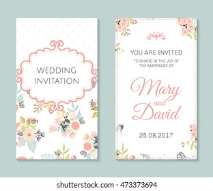 Wedding set. Romantic vector cards template. Vintage illustration.