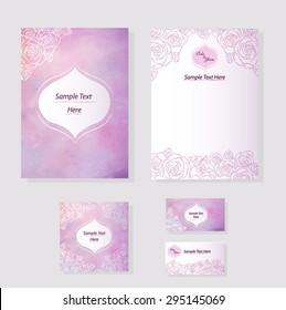 Wedding set template design printing disk, card, menu. Watercolor background