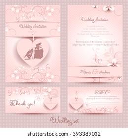 Wedding set, the template pink