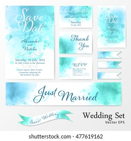 Wedding set in watercolor style.