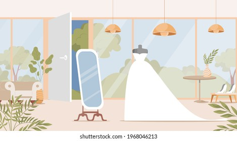 Wedding shop interior design with bride dress vector flat illustration. Bridal boutique with mannequins, mirror, flowers and plants in pots. Preparation for wedding ceremony, choosing marriage dress.