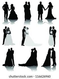 Wedding silhouettes 2-vector