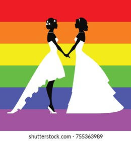 Wedding silhouettes of lesbians. Vector illustration. Rainbow  background.  Silhouettes for cards or laser cutting.