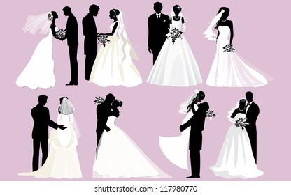 Wedding silhouettes. Vector bride and groom silhouettes.