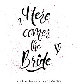 Wedding stationary brush handlettering and handdrawn phrase or quote. For printing. Modern calligraphy. Vector design for printings.