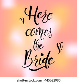 Wedding stationary and card. Brush pen hand-lettering and hand-drawn phrase or quote. For printing. Cute Modern calligraphy.