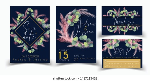 Wedding stationary set with pink pampas grass and eucalyptus. Save the date, Wedding invitation, thank you card, rsvp