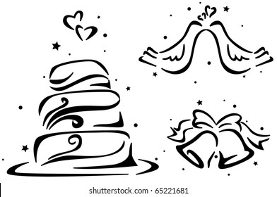 Wedding Stencil Featuring a Wedding Cake, Wedding Bells, and a Pair of Doves