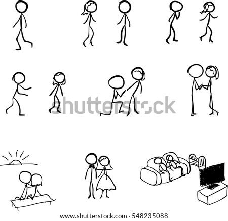 wedding stick figures vector marriage concept stock vector royalty