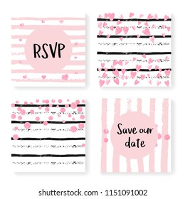 Wedding stripes with glitter confetti. Invitation set. Pink hearts and dots on black and pink background. Template with wedding stripes for party, event, bridal shower, save the date card.