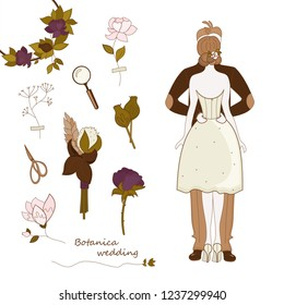 Wedding in the style of botanica.  Vector set with hand drawn doodles on the theme of wedding.  Sketches  for use in wedding printing design.