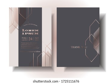 Wedding styles that the couple must look for Geometric pattern, hexagon pattern, rose gold line pattern, arranged in a modern style on dark blue background. illustration/Vector