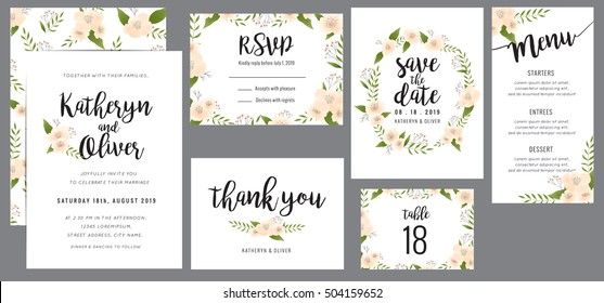 Wedding suite template decorate with wreath flowers. Including save the date card, invitation card, wedding menu, response card and thank you card. Vector illustration.