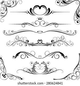 Wedding swirl floral element