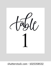 WEDDING TABLE NUMBER. HAND LETTERING TABLE WRITING