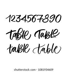 WEDDING TABLE AND NUMBERS | HAND LETTERING TABLE WRITING