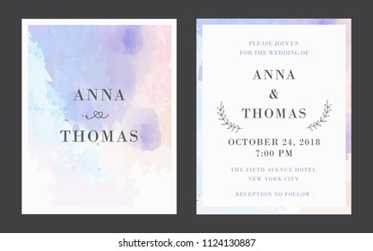 Wedding template with typography vector illustration