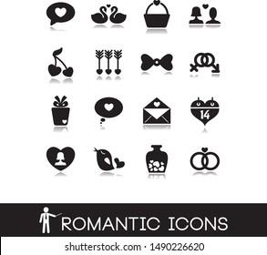 Wedding theme and romantic icons.