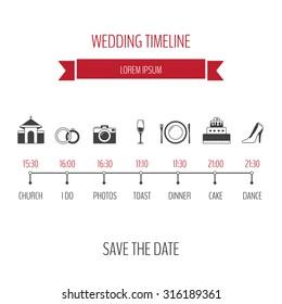 Wedding timeline infographic.