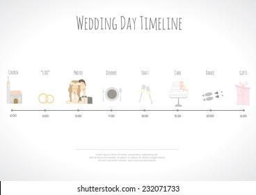 Wedding timeline infographic. Vector illustration