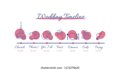 Wedding timeline infographics. Vector illustration with icons on wedding theme isolated on white background.