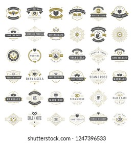 Wedding titles and logos vector elegant elements set. Vintage typography design for save the date invitations cards, ornaments decorations and symbols.