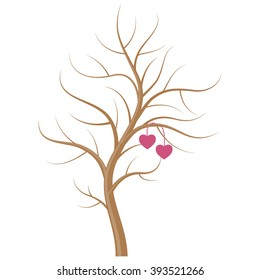 The Wedding tree without leaves with two hearts on the branches isolated on white background. Wedding element design.