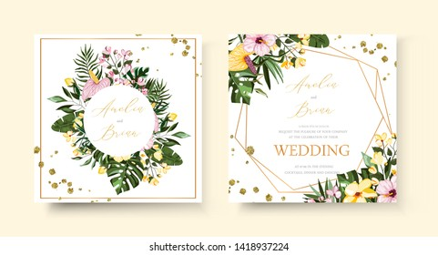 Wedding tropical exotic floral golden geometric triangular frame invitation card save the date with frangipani hibiscus calla green monstera palm leaves. Botanical elegant decorative vector template