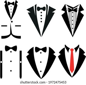 Wedding tuxedo Svg Bow tie, suit vector Illustration isolated on white background.Tuxedo shirt design. Gentleman svg Clipart Decor Cut Files for Cricut and Silhouette