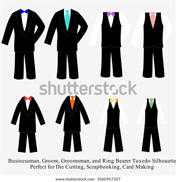 Wedding Tuxedo Vector Design Illustration Set Stock Vector