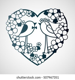 Wedding two birds among the flowers. Openwork heart wreath of flowers. Laser cutting template for decoration, cards, interior decorative elements.