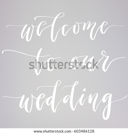 wedding typography templates vector hand written stock vector