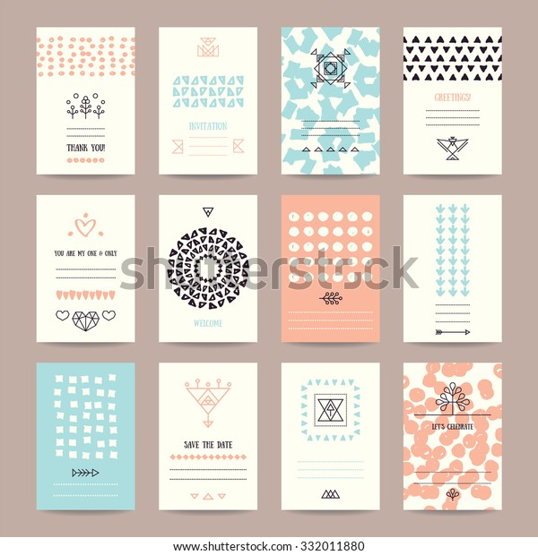 Wedding, Valentine's day, birthday party invitation, greeting cards. Hipster collection of templates with hand drawn textures, brush strokes, trendy thin line icons, geometric signs, tribal symbols.