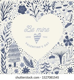 Wedding and Valentine's heart frame made of flowers in vector. Romantic cartoon invitation card. Stylish design element.