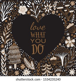 Wedding and Valentine's heart frame made of flowers in vector. Romantic cartoon motivation  invitation card. Stylish design element.