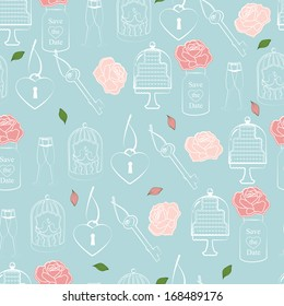 Wedding and Valentines seamless pattern in sentimental soft pastels of roses, hearts and cake symbolic of love and romance