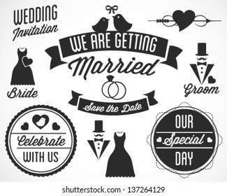 Wedding Vector Badges and Labels in Retro Style