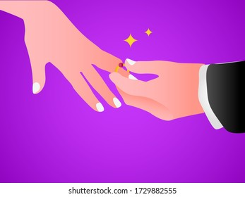 Wedding vector concept: Closeup of hand putting on an engagement ring