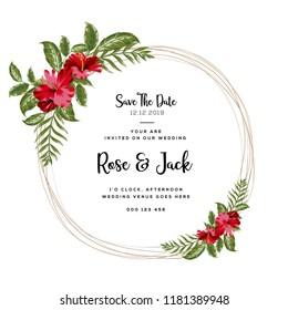 Wedding vector floral invite invitation thank you, rsvp card vector design set: hibiscus flower pink peach Rose white Anemone green leaves elegant greenery & golden glitter. Decorative modern layout