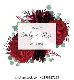 Wedding vector Floral invite, invitation save the date card vector design: garden marsala red rose flower, burgundy wine dahlia, eucalyptus greenery branches, berries. Bohemian classy stylish template